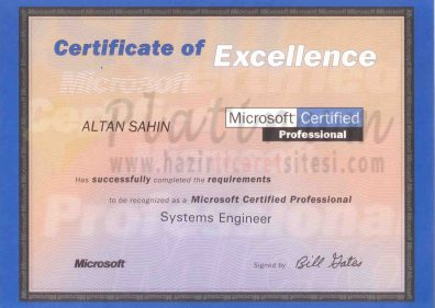 1998 - Microsoft Certified Systems Engineer