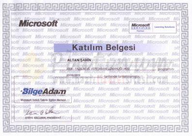 2009 - Yazılım ve Veritabanı Uzmanlığı