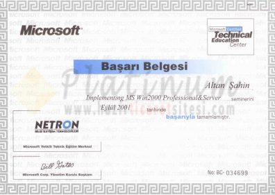 2001 - Implementing Microsoft Windows 2000 Professional and Server